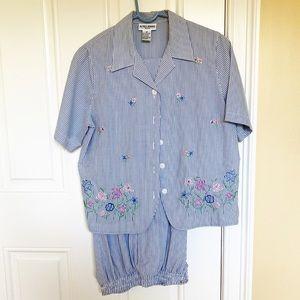 Vintage blue & white stripe seersucker shirt/pants